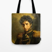 dylan Tote Bags featuring Bob Dylan - replaceface by replaceface