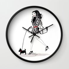 Houndstooth and a Scottie Watercolor Fashion Illustration Wall Clock