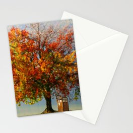 Tardis Art With A Tree Stationery Cards