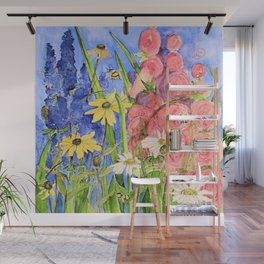 Cottage Garden Delphinium and Hollyhocks Watercolor Wall Mural