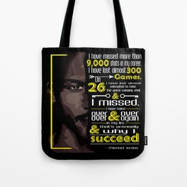 I've missed more than 9000 shots in my career MJ Sport Player Motivating Quote Design Tote Bag