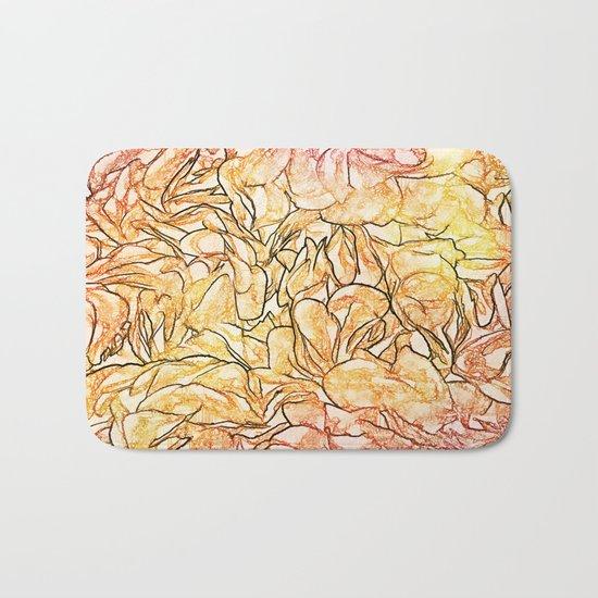 Orange Painterly Floral Abstract Bath Mat