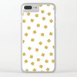 Golden Shamrocks White Background Clear iPhone Case