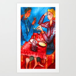Two friends drinking wine and having dinner Art Print