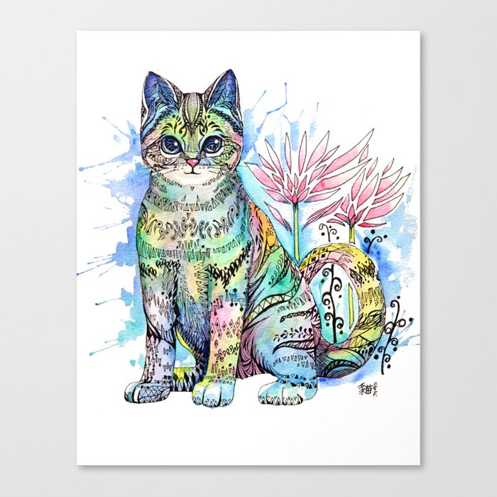 Rainbow Cat with water lily Canvas Print
