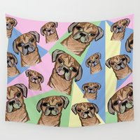 pugs Wall Tapestries featuring square pugs by lindseyclare