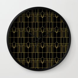 Razzmatazz! Art Deco Jazzy Gold and Black Pattern Wall Clock