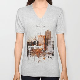 Brown Watercolor Tucson watercolor skyline Unisex V-Neck