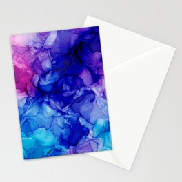 Purple, Pink, and Blue Abstract: Original Alcohol Ink Painting Stationery Cards