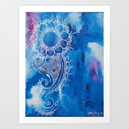 Henna Inspired Paisley and Flower Art Print