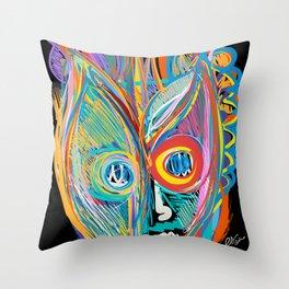 Rainbow Magic Man Graffiti Expressionist Art by Emmanuel Signorino Throw Pillow