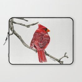 Winter Cardinal On White Laptop Sleeve