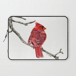 Winter Cardinal On White Laptop Sleeve