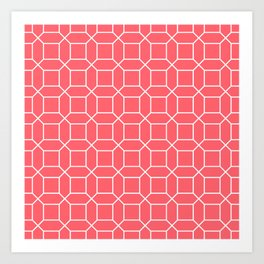 Coral Red Octagon Grid Art Print