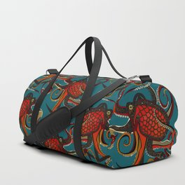 octopus ink teal Duffle Bag