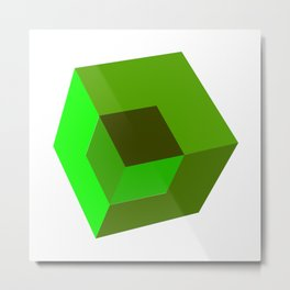 3d Cube Metal Print