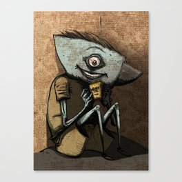 Anvil head eat french fries in the corner. Canvas Print