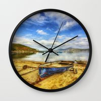 rowing Wall Clocks featuring Lets Sail Away by Ian Mitchell