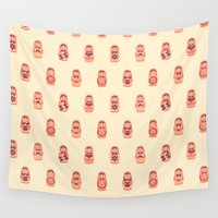 russian Wall Tapestries featuring Russian Dolls by Kid Khronos