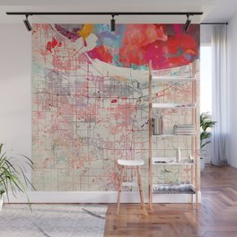 Gary map Indiana painting Wall Mural