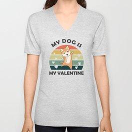 My Dog Is My Valentine Shiba Dogs Vintage Heart Unisex V-Neck