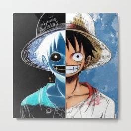 "Luffy Smile ""Two Face"" Metal Print"