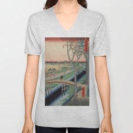 Koume Embankment Vintage Ukiyo-e Japanese Art Unisex V-Neck