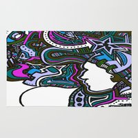 techno Area & Throw Rugs featuring Purple Techno by Madison R. Leavelle