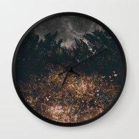 fireflies Wall Clocks featuring Fireflies by Alexis Hilliard