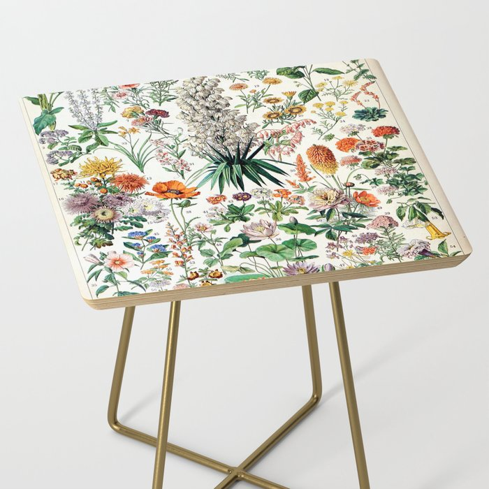 Adolphe Millot - Fleurs B - French vintage poster Side Table