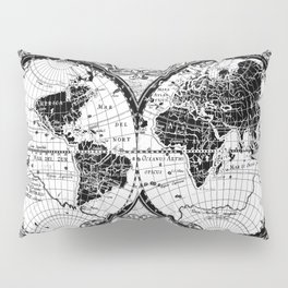 world map black and white Pillow Sham