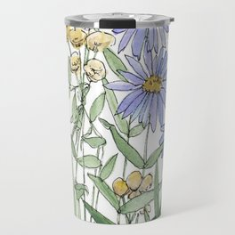 Asters and Wild Flowers Botanical Nature Floral Travel Mug