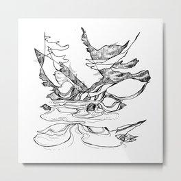 Snowy Flowy River Bends Metal Print