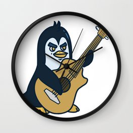 Guitar penguin Wall Clock
