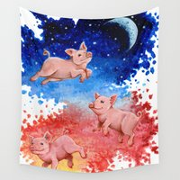 pigs Wall Tapestries featuring 3 Pigs by Priscilla George