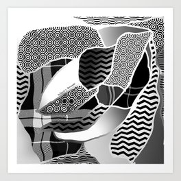 BLACK AND WHITE ABSTRACT PATCHWORK Pattern Design Art Print