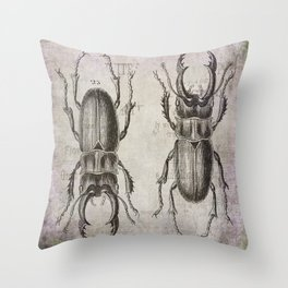 Grunge Style Stag Beetle Throw Pillow