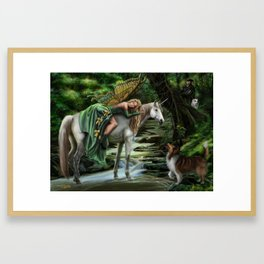 Sleeping Fairy on Unicorn Framed Art Print