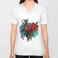 band V-neck T-shirts featuring Betta's Band by Distortion Art