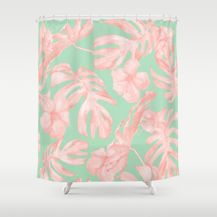 Tropical Palm Leaves Hibiscus Pink Mint Green Shower Curtain By Followmeinstead