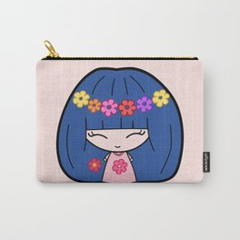 Cute Kawaii Girl With Blue Hair and Colorful Flowers Carry-All Pouch