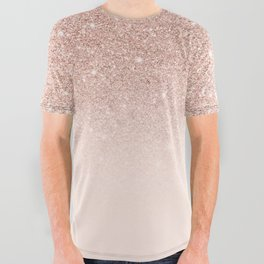 Rose gold faux glitter pink ombre color block All Over Graphic Tee