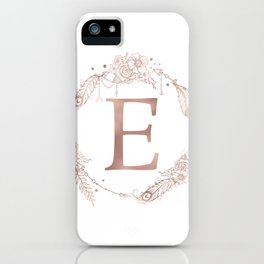 Letter E Rose Gold Pink Initial Monogram iPhone Case