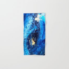 Vortex: a vibrant, blue and gold abstract mixed-media piece Hand & Bath Towel
