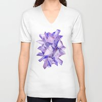 geode V-neck T-shirts featuring Amethyst Watercolor by Cat Coquillette