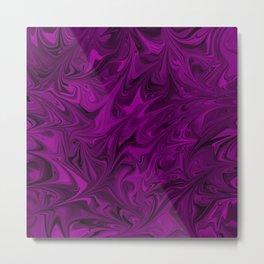 Fluid Marbled Pattern Abstract Art Design Dark Fuchsia Metal Print