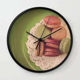 Macarons on Green Wall Clock