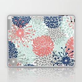 Floral Print - Coral Pink, Pale Aqua Blue, Gray, Navy Laptop & iPad Skin