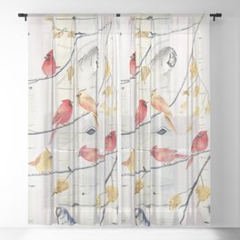 Winter Song 4 - Cardinal Birds Sheer Curtain