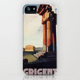 Vintage 1920s Agrigento Italian travel ad iPhone Case